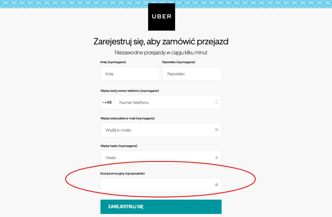 Uber kod promocyjny